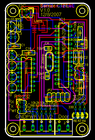PCB layout of the sensor controller